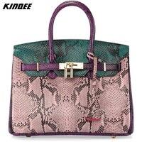Casual Tote Genuine Leather Handbag Women Bohemian Style Snake Serpentine Python Bags Lady Crossbody Bag Luxury