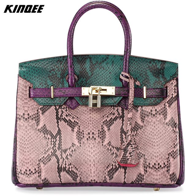 Casual Tote Genuine Leather Handbag Women Bohemian Style Snake Serpentine Python Bags Lady Crossbody Bag Luxury