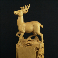 Boxwood Carvings Exquisite Sculpture Animal Elk Office Supplies Root Carving Home Decoration Wood Ornaments Featured Gift