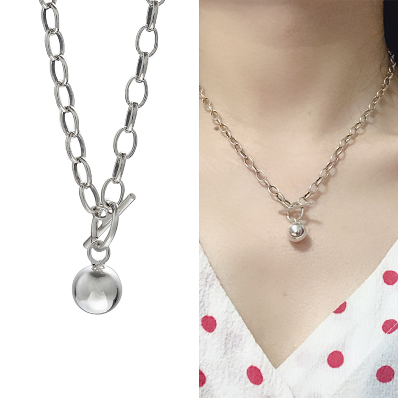925 Sterling Silver Punk Vintage Necklace Big Chain Round Ball Pendant Ot Buckle Chokers Necklaces For