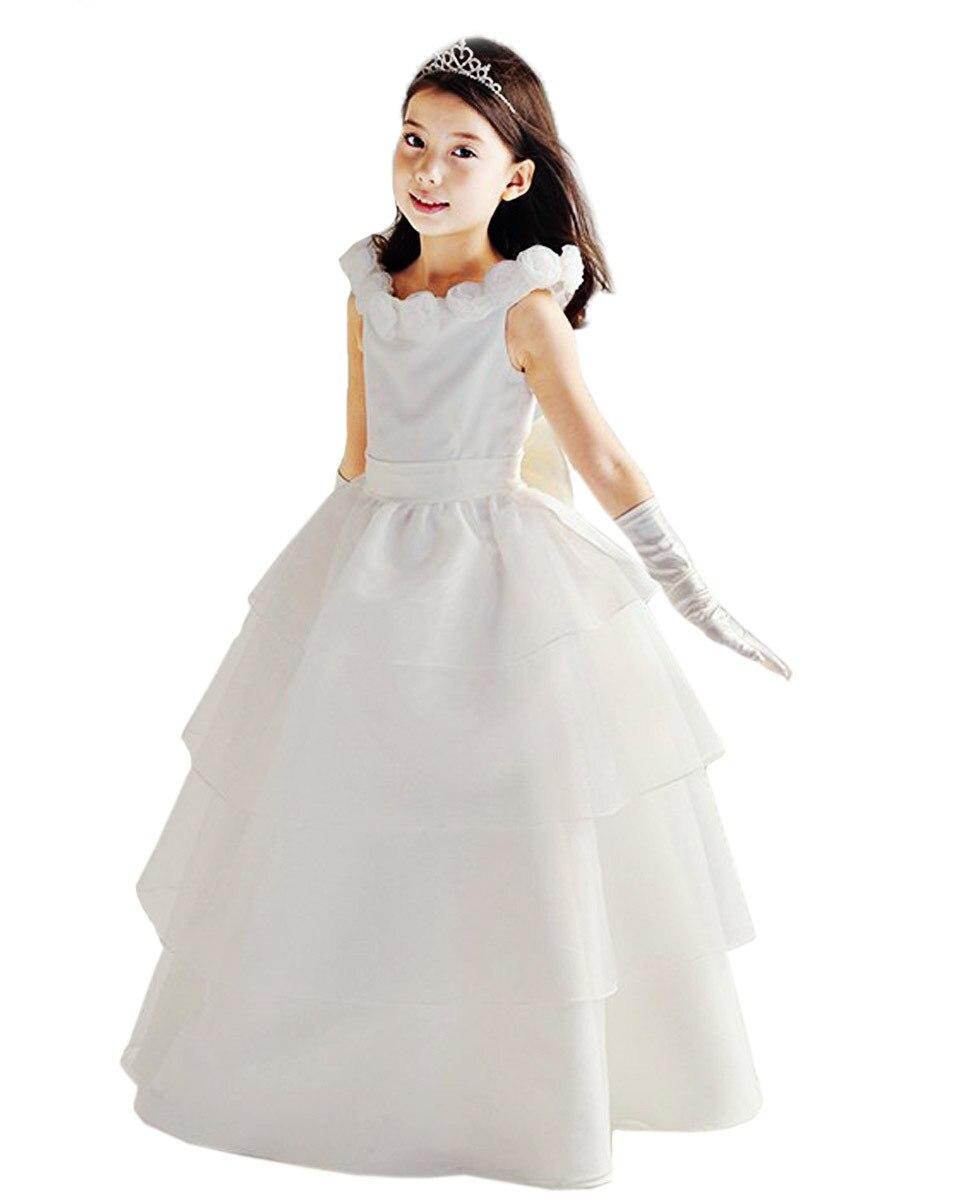ФОТО Handmade Girl Dress Ankel Length Wedding  Flower Neckline Bubbled Tiered White Bridesmaid Bow Ribbon Dress on Sale with Pick Ups