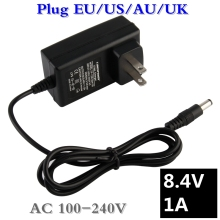 100-240V 8.4V 1A polymer lithium battery charger 5.5mm Portable Charger EU/AU/US/UK Plug