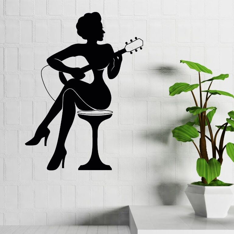 Bar Decoration Woman Play Guitar Silhouette Wall Sticker Music Style Art Decals Home Vinyl Mural AY914