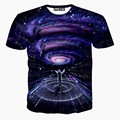 Новая Европа и Американский Мужчины/мальчик Футболки мода 3d печати человек смотреть метеорный поток Пространство галактики майка