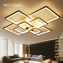 NEO Gleam Rectangle Acrylic Modern Led Ceiling Lights For Living Room Bedroom White Color Home Dec Surface Mounted Ceiling Lamp