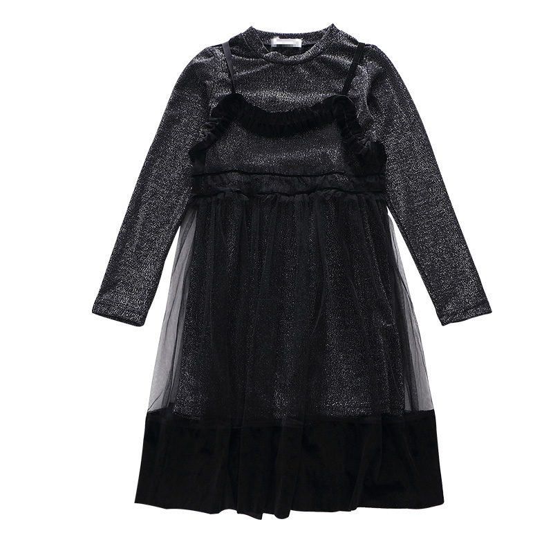 4 5 6 7 8 9 10 11 12 13 Years Kids Clothing Set 2017 Girls Clothes Long Sleeve Black Shirt + Lace Dress 2pcs Teenagers Baby Suit