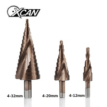 XCAN 3PCS 4-12/20/32mm HSS Spiral Grooved Step Drill Bit Set TICN Coated Step Hole Cutter Cone Drill Bit Set
