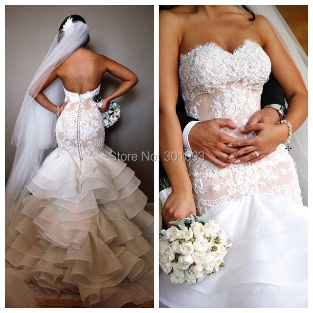 d398ccaa6f6a1 Oumeiya OW414 Beaded Lace Appliques Organza Ruffles Skirt Nude Pink and White  Sexy Mermaid Wedding Dresses 2016-in Wedding Dresses from Weddings & Events  on ...