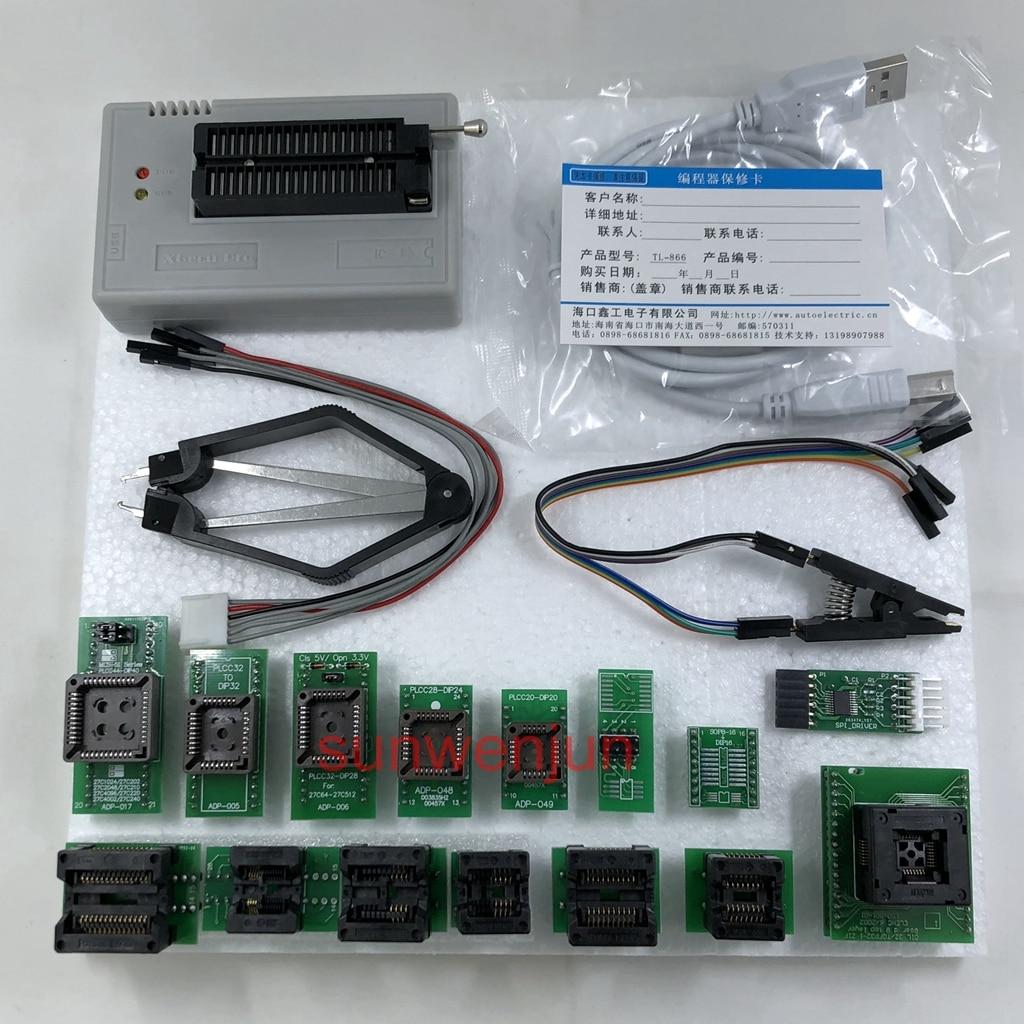 Black Edition V8.51 XGecu TL866II Plus Programmateur USB 15000 + IC SPI Flash NAND EEPROM MCU PIC AVR + 15 pièces ADAPTATEUR + SOIC8 Testclip