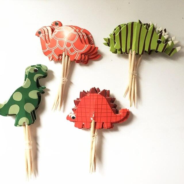 720pcs New Cartoon Jurassic Park Dinosaur Cupcake Topper Picks Birthday Party Decorations Kids Wedding Decoration