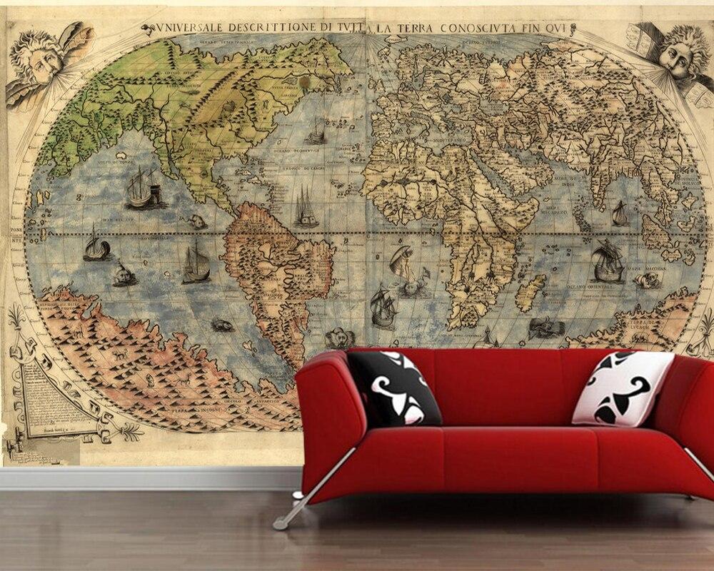 Carte du monde antique papier peint 3d papier peint papel de parede, salon tv mur chambre papiers muraux décor à la maison restaurant café bar mural