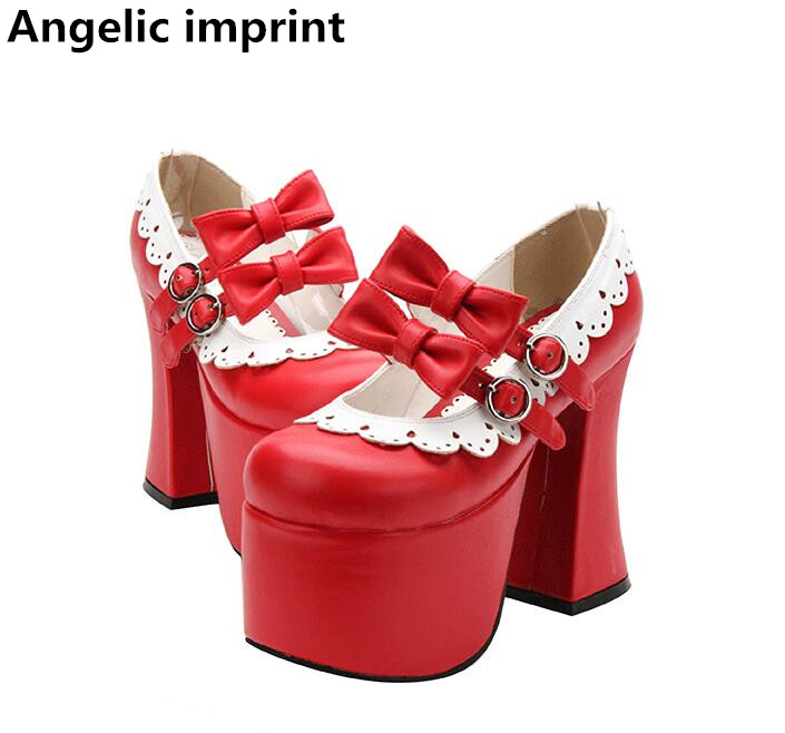 Angelic imprint woman mori girl lolita cosplay shoes lady super high heels pumps women princess dress
