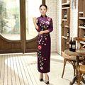 Весна Осень Новый Фиолетовый Женщина Бархат Платья Китайский Стиль Женщины Длинные тонкий Cheongsam Qipao Цветочный Sml XL XXL XXXL T0010