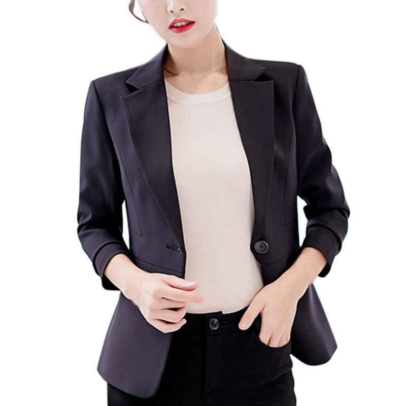 青、黒、赤女性ブレザーやジャケットワンボタン長袖コートスリムオフィスの女性のコート女性スーツブレザー秋コート F2