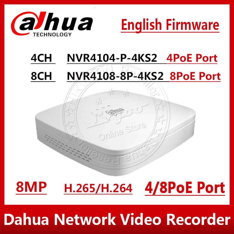 Dahua NVR NVR4104 P 4kS2 NVVR4108 8P 4KS2 4CH 8CH 8MP Smart 1U 4PoE 8PoE 4K&H.265 Lite Network Video Recorder  1SATA With logo-in Surveillance Video Recorder from Security & Protection
