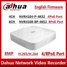 Dahua NVR NVR4104 P 4kS2 NVVR4108 8P 4KS2 4CH 8CH 8MP Smart 1U 4PoE 8PoE 4K&H.265 Lite Network Video Recorder  1SATA With logo