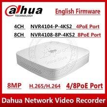 داهوا NVR NVR4104 P 4kS2 NVVR4108 8P 4KS2 4CH 8CH 8MP الذكية 1U 4PoE 8PoE 4K و H.265 لايت شبكة مسجل فيديو 1SATA مع شعار
