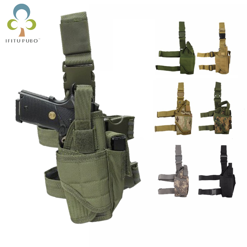 Adjustabl Tactical Pistol Drop Leg Thigh Holster  Mag Pouch Right Hand Outdoor Tactical Pouch with Adjustable Magic Strap GYH tactical 1911 leg holster right hand paddle drop thigh pistol gun holster with snap button magazine torch pouch for colt 1911