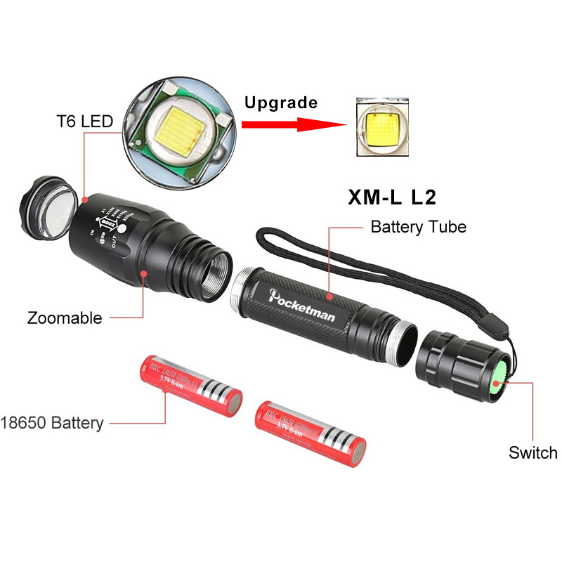Купить с кэшбэком Extended Edition LED Flashlight Torch  XM-L2 zoomable led torch  2x18650 batteries aluminum bicycle light tactical z35