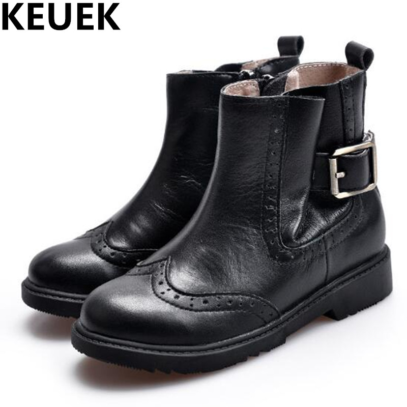 NEW Autumn/Winter Children Shoes Boys Girls Buckle Martin Ankle Boots Toddler With Plush Genuine Leather Black Kids Boots 044 2014 new autumn and winter children s shoes ankle boots leather single boots bow princess boys and girls shoes y 451