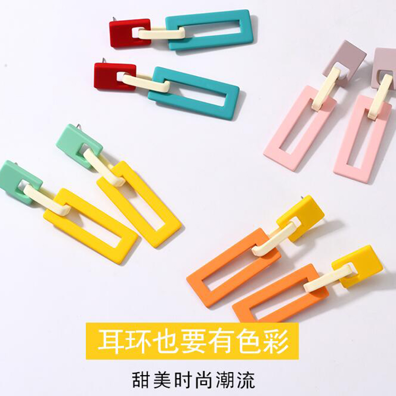 XIYANIKE Candy Color Geometric Acrylic Earrings Buckle Retro Vintage New Punk Earring Big Drop Women Drop Shipping in Drop Earrings from Jewelry Accessories