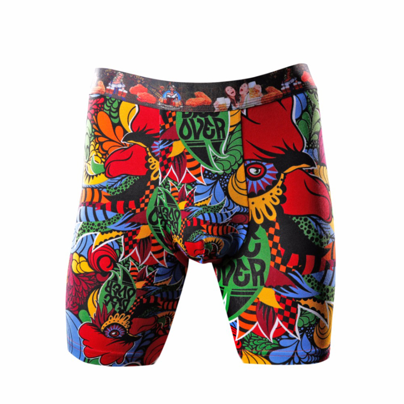 FULIYA Long leg Boxer Shorts Print Cotton Stretch Underpants U Convex Sexy Male Underwear Soft Breath Underpants Homme Underwear