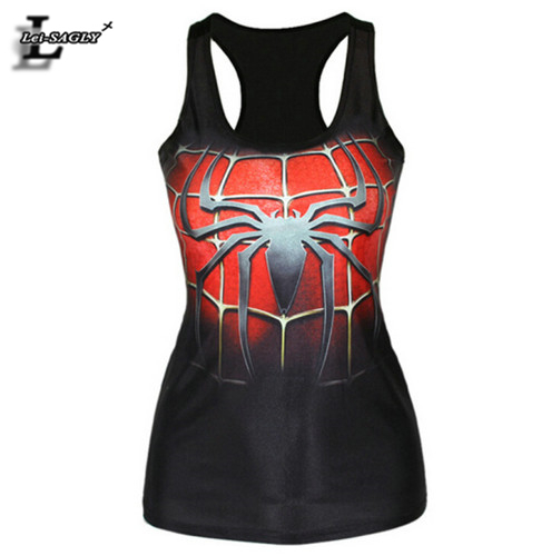 New 2018 3D Spider Men Printed Women Harajuku Style   Tank     Top   Summer Dark O-Neck Punk Vest Sexy Fitness Elastic Camisole F65