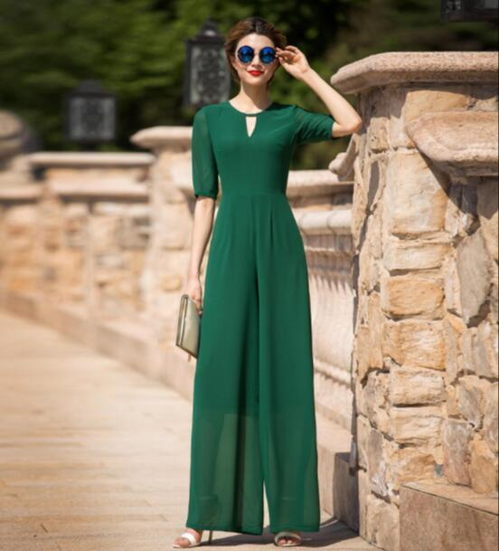 Jumpsuit for Women 2017 Summer Party Overalls Rompers Chiffon Elegant Green Full Length Bodysuit Plus Size M L XL 2XL 3XL