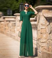 Jumpsuit for Women 2019 Summer Party Overalls Rompers Chiffon Elegant Green Full Length Bodysuit Plus Size M L XL 2XL 3XL