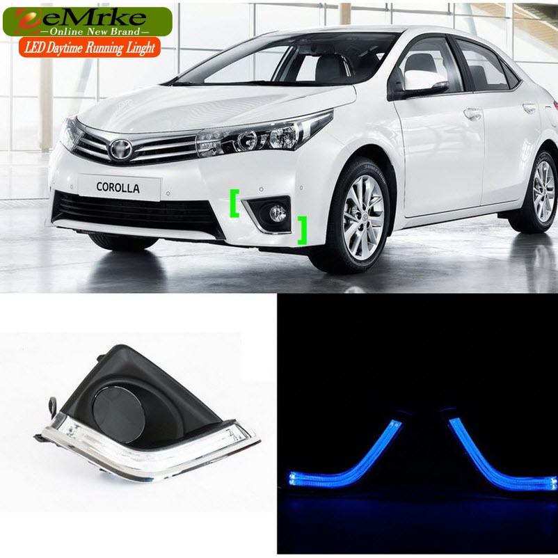 eeMrke LED Daytime Running Lights For Toyota Corolla E170 2014 2015 High Power White DRL Light Fog Lamp Cover Kits