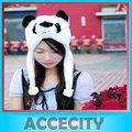 Women Cartoon Animal Fluffy Plush Earmuff Warm Panda Hat Cap Beanie Girls Cute Winter Warmer Hats Hot Sale Black & White