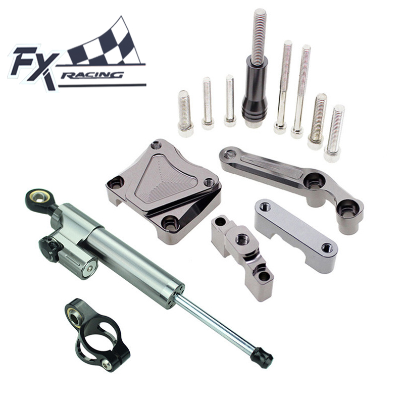 Фотография FX Aluminum Motorcycle Steering Stabilizer Damper Mounting Bracket Complete Set For Kawasaki EX300 NINJA 300 2013-2016 2014 2015