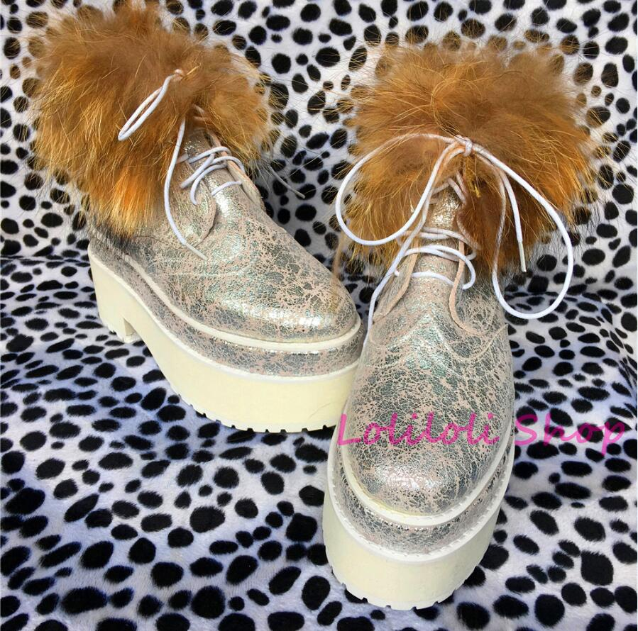 Princess sweet lolita shoes Lolilloliyoyo antaina Japanese design shoes custom silvery leather flat shoes with fox fur yd001-3 цена