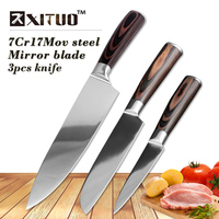 XITUO 3Pcs Stainless Steel Kitchen Knives Set Color Wood Handle Bread Chef Knife Slicing Utility Paring