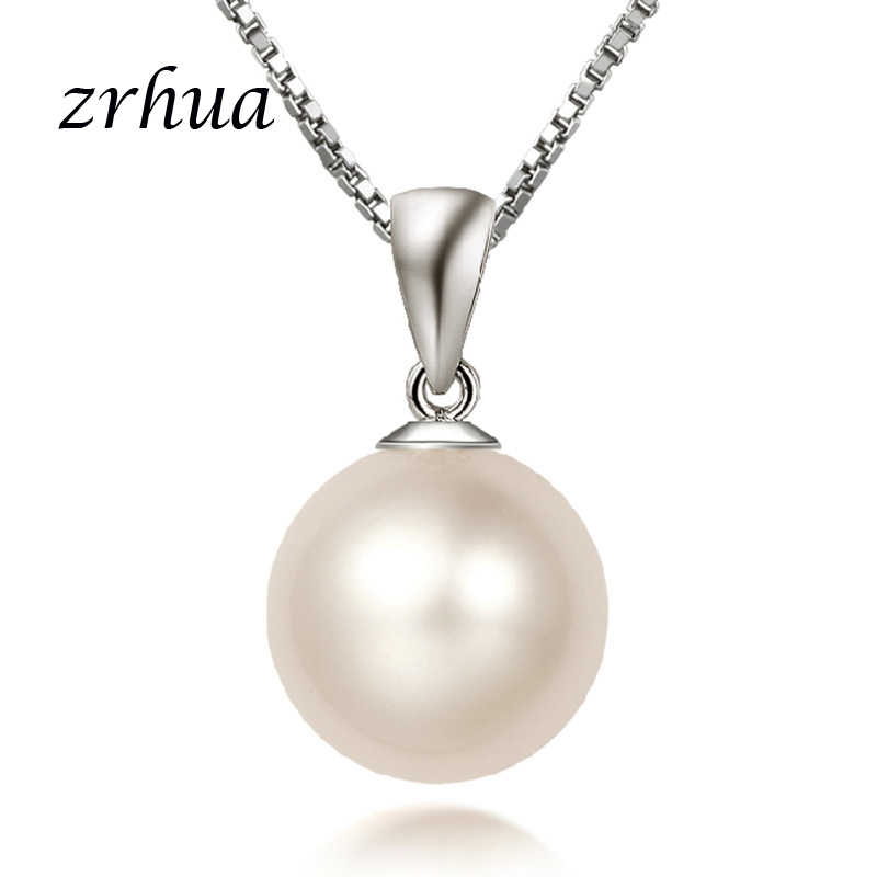 ZRHUA High Quqlity Silver 925 Necklaces & Pendants Classic Round Pearl Pendant Trendy Wedding Bridal Jewelry for Women Lovers