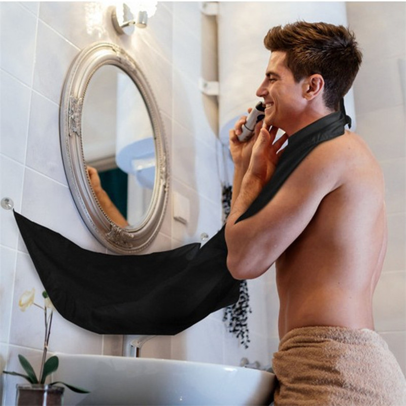 Image 2 - 120x77cm Man Bathroom Apron Beard Apron Hair Shave Apron for Man Men's Facial Bear Barbe Waterproof Polyester Household Cleaning-in Hair Trimmers from Home Appliances