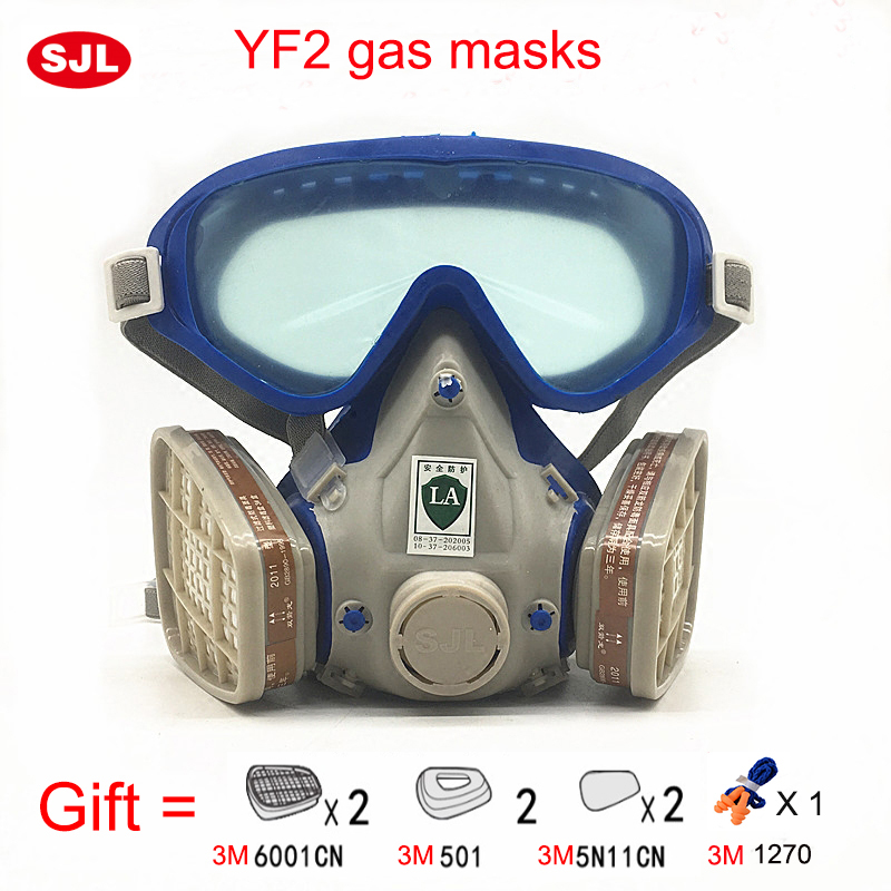 SJL Gas mask with glasses full face protective mask paint chemical masks activated carbon fire escape breathing apparatus jaisati gas mask tactical skull resin full face fog gas masks for cs wargame airsoft paintball face protective halloween mask