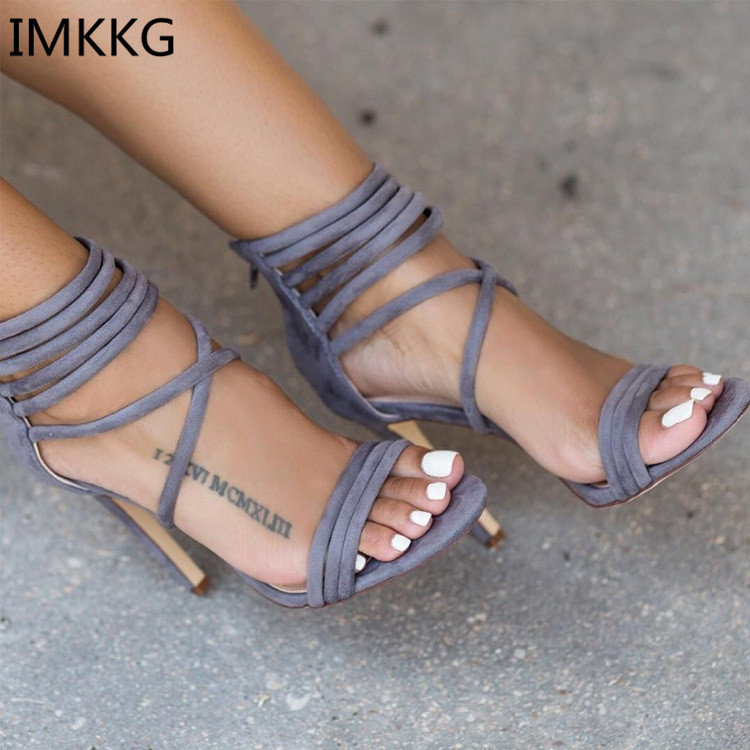 Hot sale Lace up Velvet Gladiator Women Sandals Summer Women High Heel Shoes Fashion Sexy Women Pumps 41 Size m312