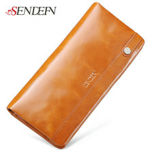 First Layer Leather Phone Wallet Long Brand Thin Cowhide Real Leather Women Wallet Coin Purse Zipper Credit Card Holders Money