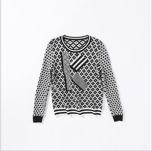 Black White Brock Long Sleeve Sweater 2017 Autumn Fashion High End O Neck Loose Knitted Women Casual Pullovers Letter K Pattern