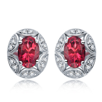 Flower Bud 2 5ct Natural Red Tourmaline Gemstone Sterling Silver Stud Earrings