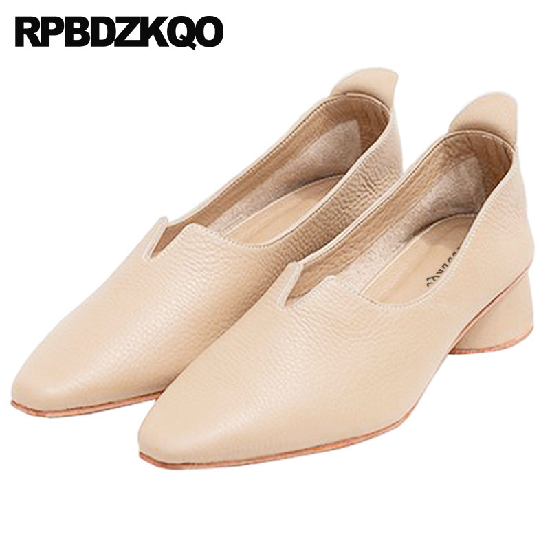 Pumps Medium Heels Block Plus Size European Designer Shoes Low Ladies Handmade Pointed Toe High Nude Genuine Leather Top Quality цена 2017