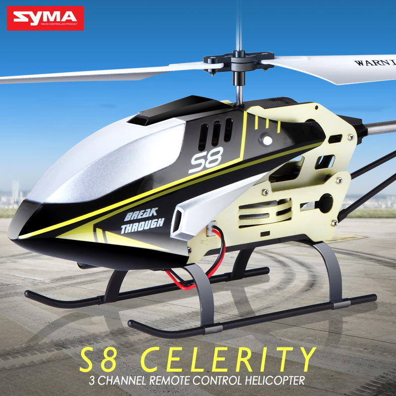 SYMA S8 RC Helicopter Aircraft Controller Drone 3.7V 150mAh 3.5CH Gyroscope Helicopter Remote Control Toys For Children s105g rechargeable 3 ch r c helicopter w gyroscope white blue ir remote 6 x aa