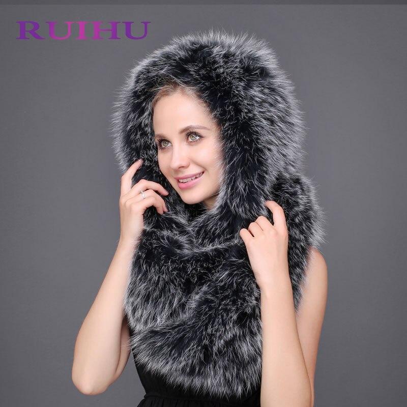 RUIHU натуральный Лисий мех шарф шляпа высокое качество зимние Для женщин меховая шапка толстый женские Кепки вязаный мех Кепки s шляпа с уха заслонки RHM640