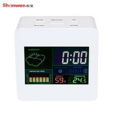 Wholesale prices TS-S61 Color Indoor Thermometer Temperature Hygrometer Clock With Calendar Alarm Clock Function 12/24 Hour System