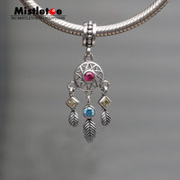 925 Sterling Silver Spring Kite Pave Zircon Dangle Dreamcatcher Charms Fit Pandora Bracelet Crystal Such Chamilia