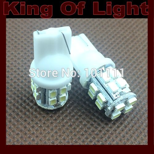100X Car Auto LED lights T10 194 W5W 20 led smd 1206 Wedge LED Light Bulb Lamp T10 20SMD White Free shipping