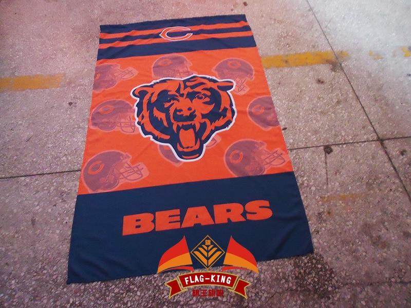 Chicago Bears Rugby helmet polyester flag,Chicago Bears football helmet banner,90*150 CM flagking brand