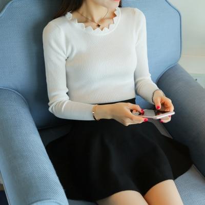 Fall fashion sweater female head Korean slim slim short 2016 solid backing all match long sleeved