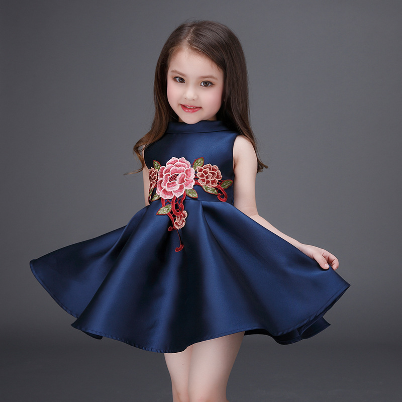2016 Spring and Summer Girls Dress Chinese style Flower Embroidered Princess Dress Baby Party Frocks Designs Boutique Clothing